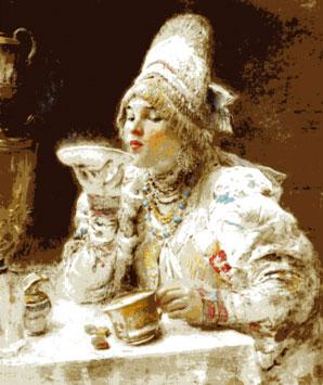 За чаем. Художник: Маковский К.Е. 1914г.